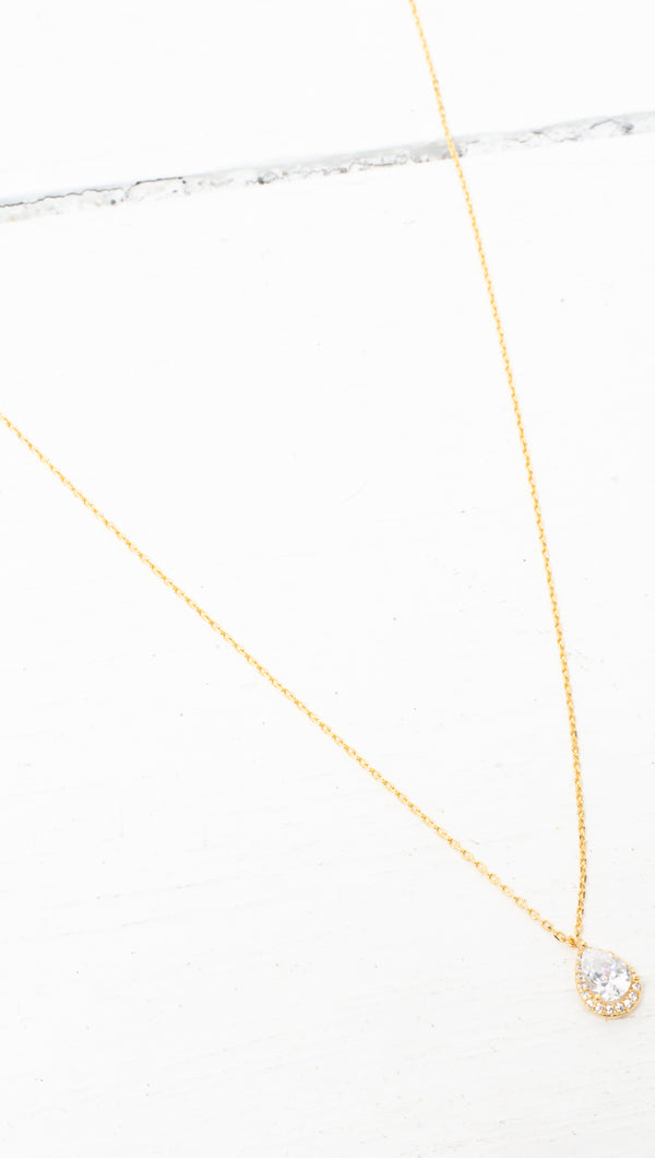 Princess Teardrop Necklace - Gold Dipped