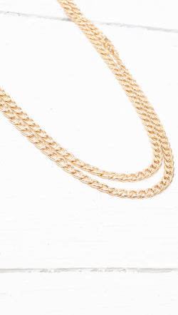 étoile Double Layered Thick Gold Chain Necklace