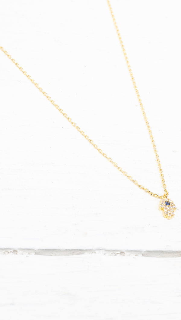 Mini Hamsa Necklace - Gold Dipped