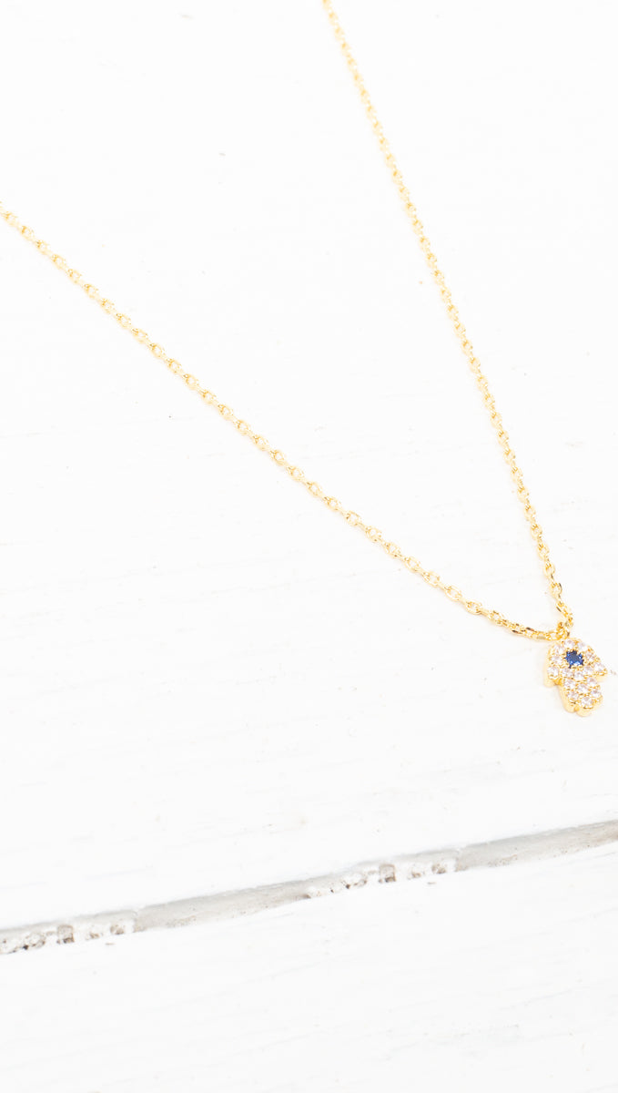 étoile Gold Dipped Tiny Hamsa With Blue Crystal Necklace