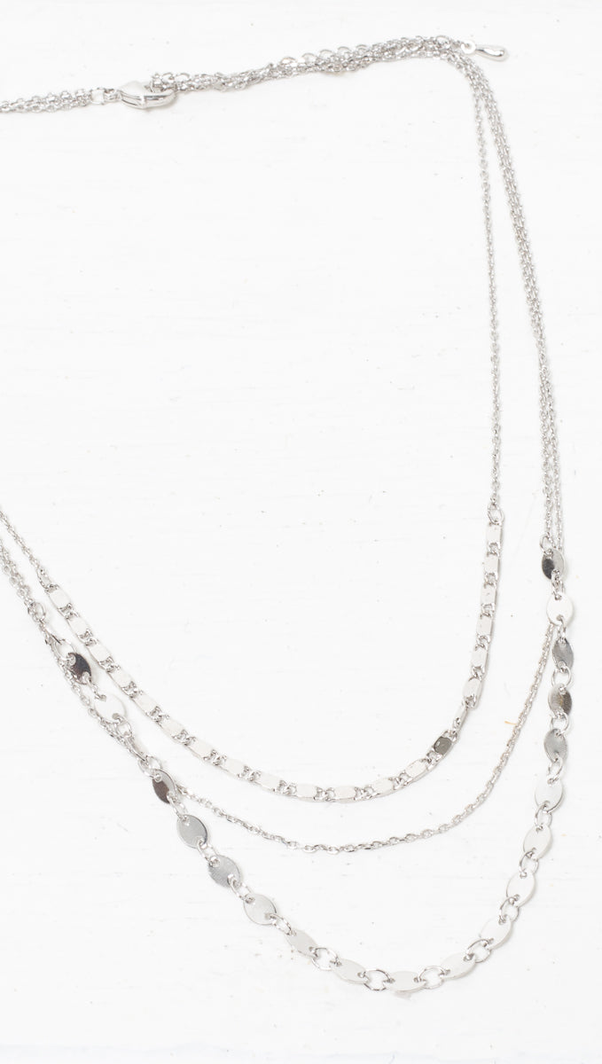 Serena Prelayered Necklace - Silver