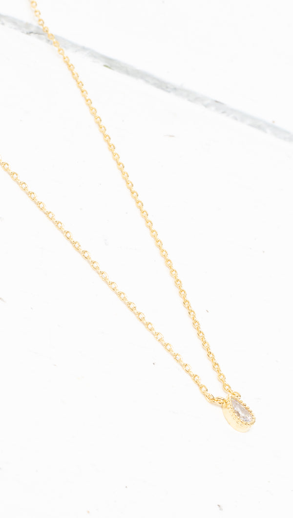 Crystal Teardrop Necklace - Gold Dipped