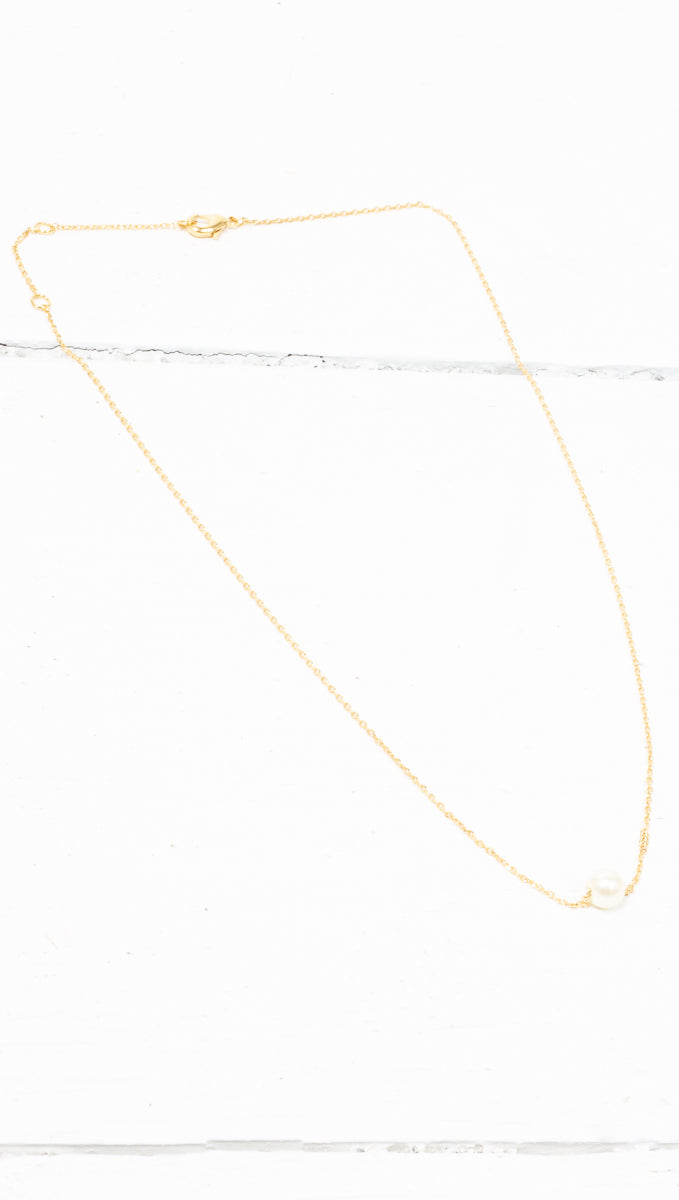 Single Pearl Necklace - Gold Dipped