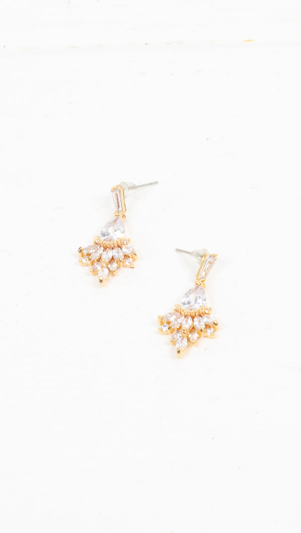 étoile small gold/crystal triangle earrings