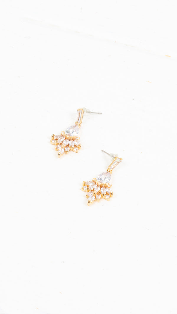Petite Crystal Statement Earrings - Gold