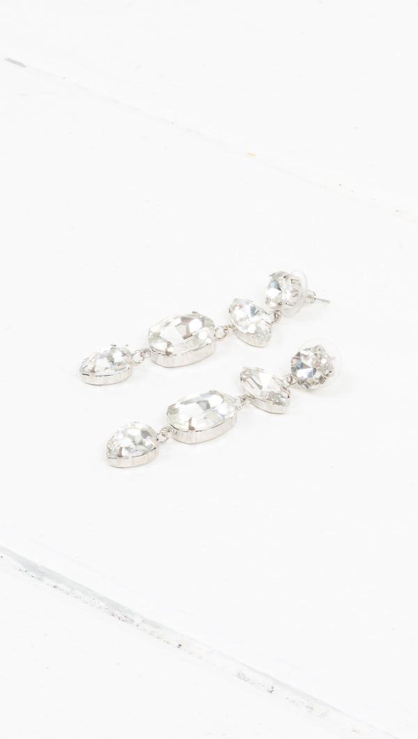 Queen Crystal Statement Earrings - Silver