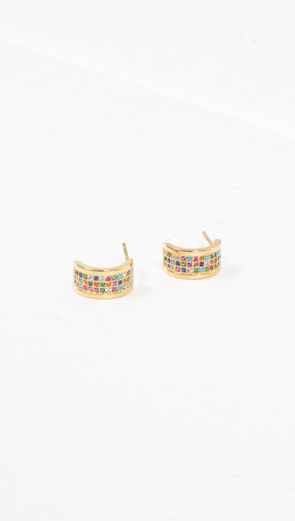 étoile rainbow/gold small thick half hoop studded earring