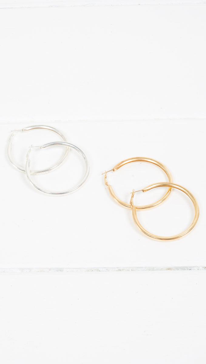 Etoile Riley Thin Wide Band Hoop Earrings in Gold and Silver
