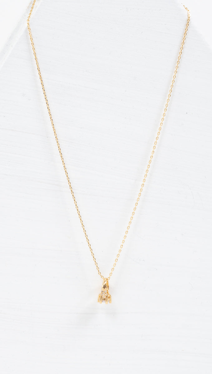 étoile thin gold necklace with small ring charm