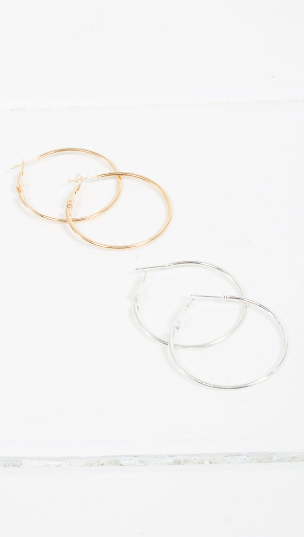 Etoile Sarah Medium Sized Thin Hoop Earrings in Gold and Silver