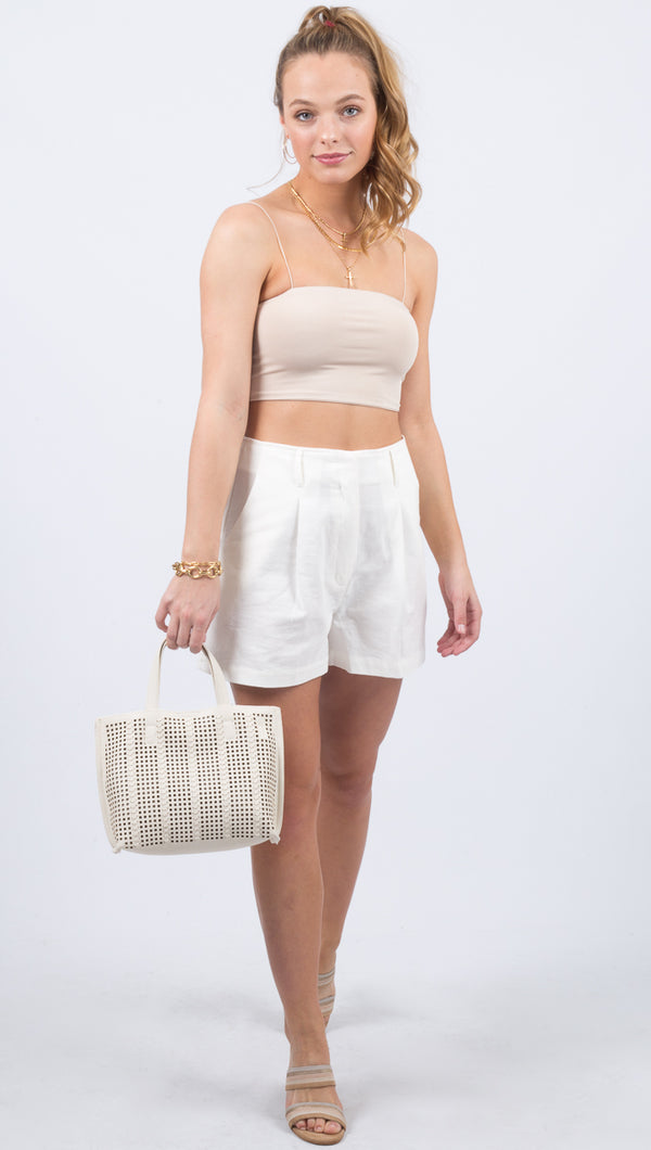 Shay Front Pleat Woven Shorts - White