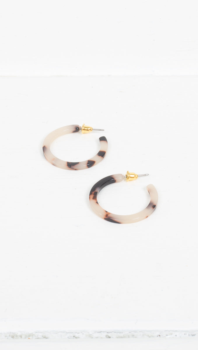 Small Detached Tortoise Hoops - Black/White