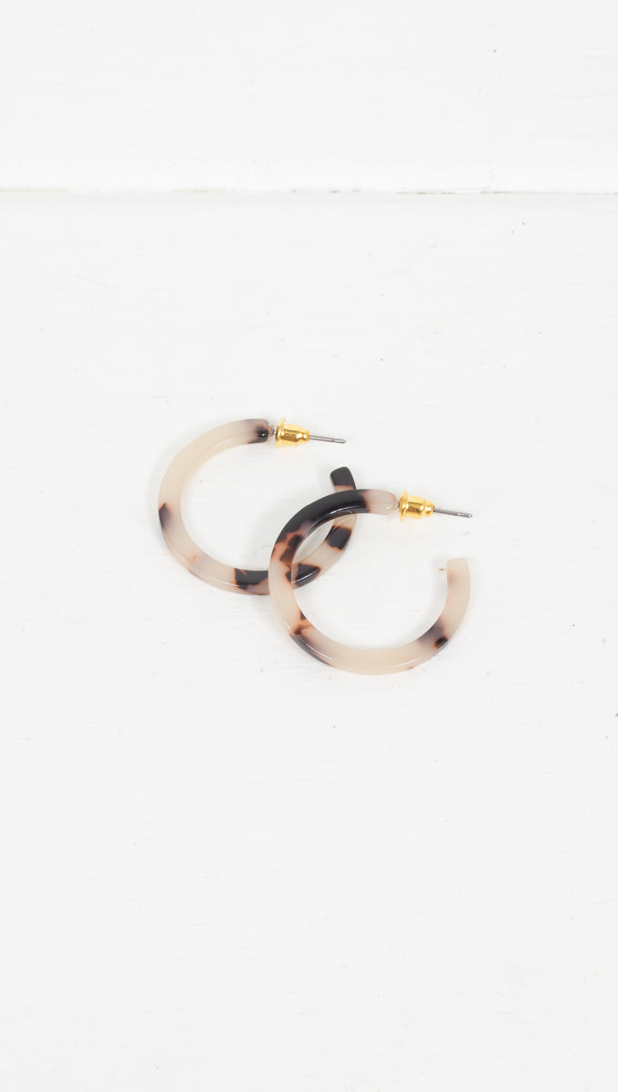 Etoile Tortoise Shell Detached Mini Hoops in Black and White