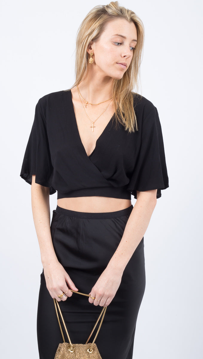 Stacey Open Back Tie Blouse - Black
