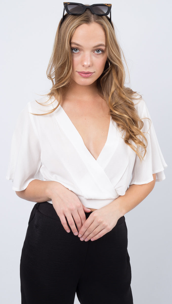 Stacey Open Back Tie Blouse - Off White
