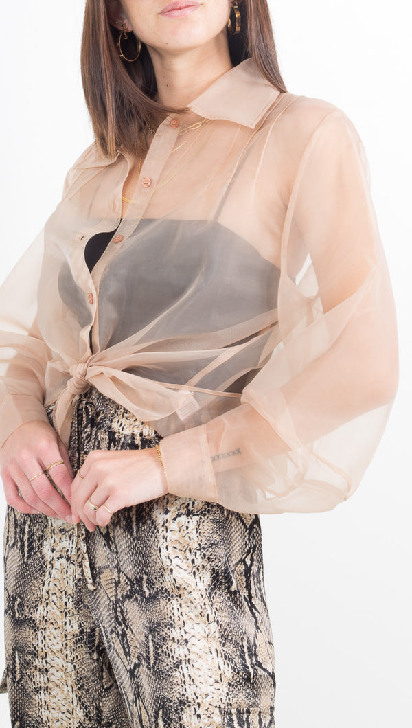 Tayla Sheer Button Down - Nude