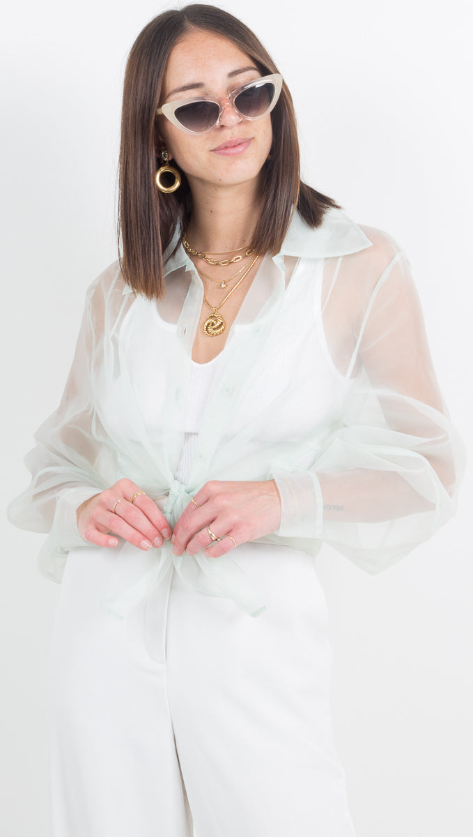 Tayla Sheer Button Down - Sage
