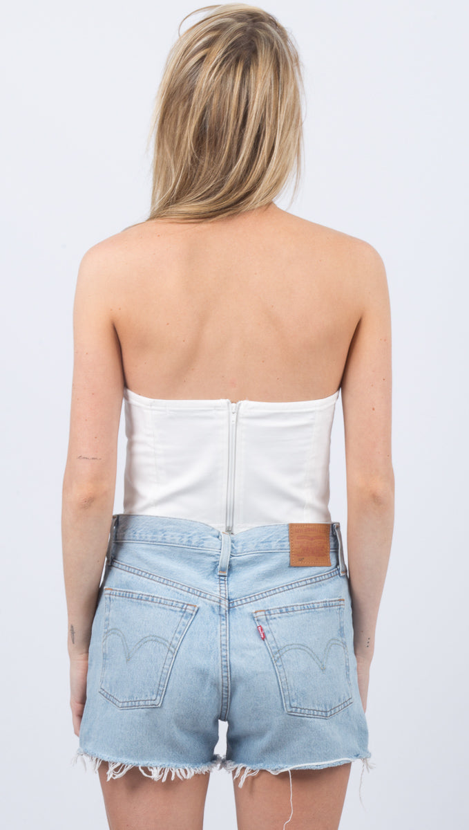Taylor Strapless Seam Top - White