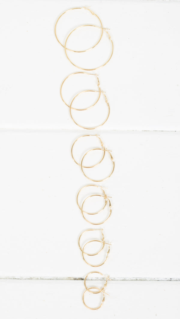 Vanessa Thin Hoops - Gold