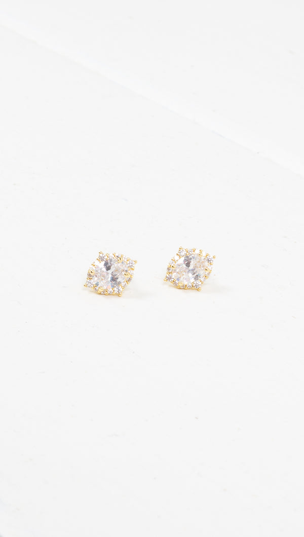 étoile crystal gold studded earrings