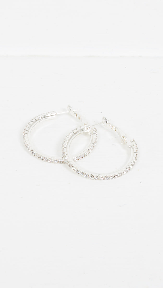 Etoile Victoria Pave Hoop Earrings with Silver Studs