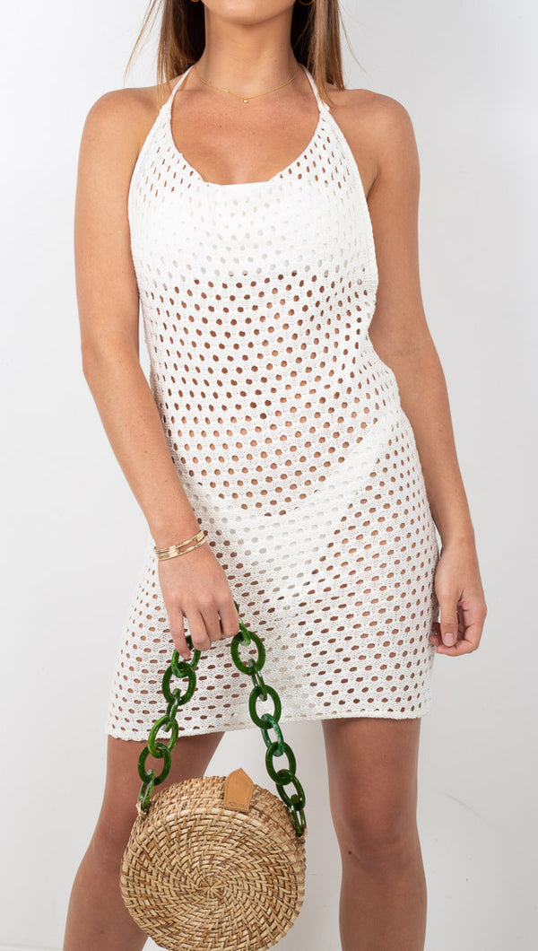 Punta Mita Crochet Cowl Neck Mini Dress - Off White