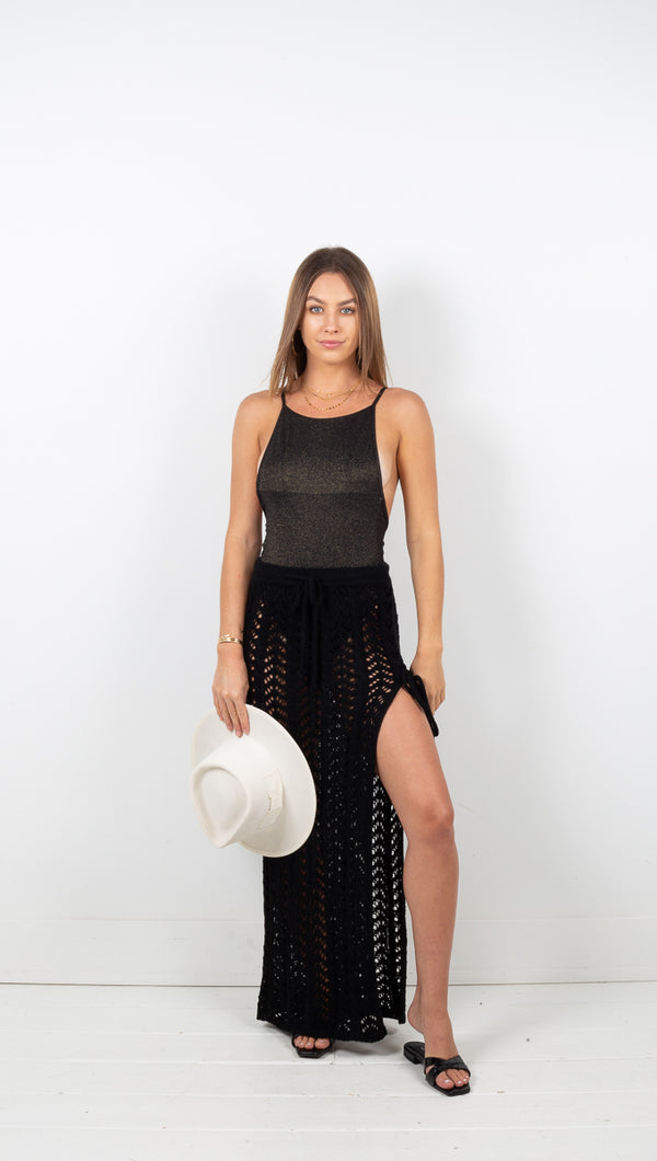 Naples Knit Crochet Maxi Skirt - Black