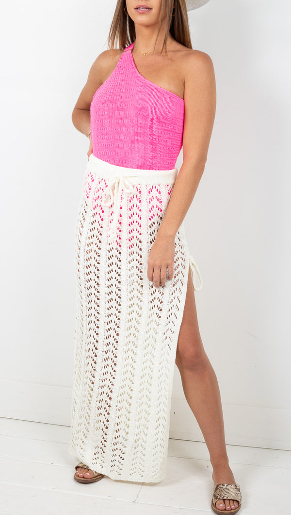 Naples Knit Crochet Maxi Skirt - Off White
