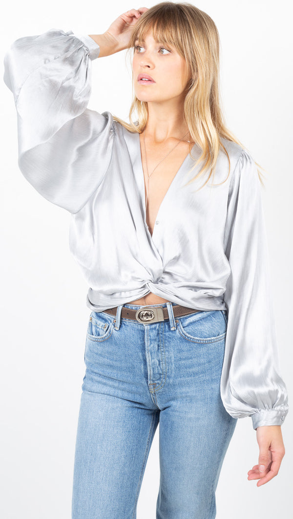 Natalie Twist Front Cropped Blouse - Silver