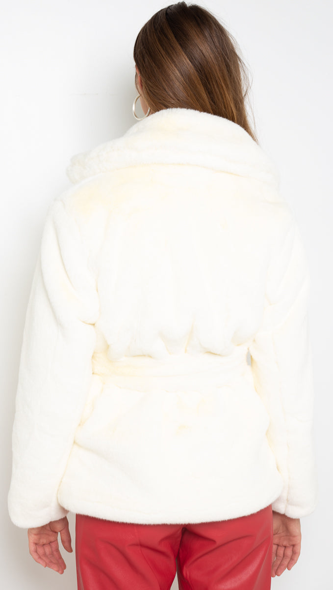 Wonderland Faux Fur Coat - Ivory