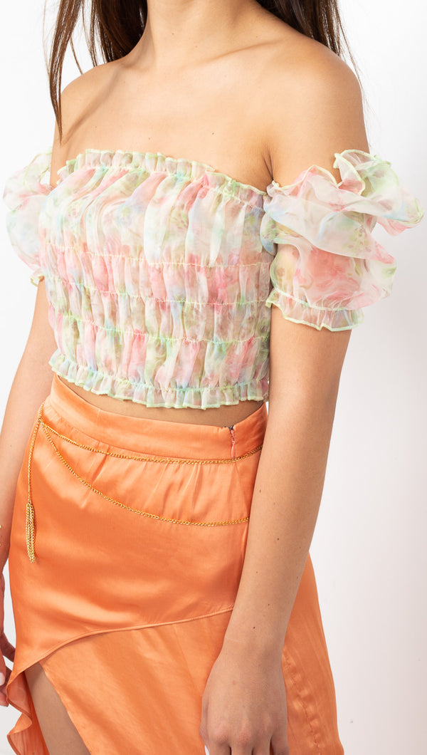 étoile Pink Floral Sheer Cropped Blouse with Smocked Bodice and Puff Sleeves
