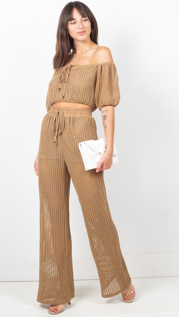 Bordeaux Knit Top/Pant Set - Mocha