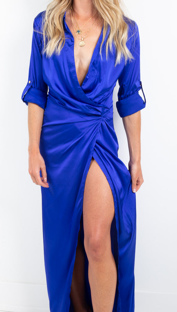 Etoile royal blue vneck high slit maxi dress