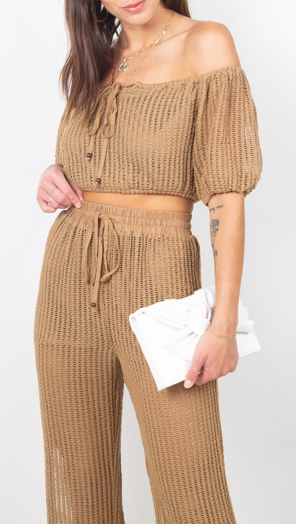 étoile Brown Knit Two Piece Crop Top and Pant Set