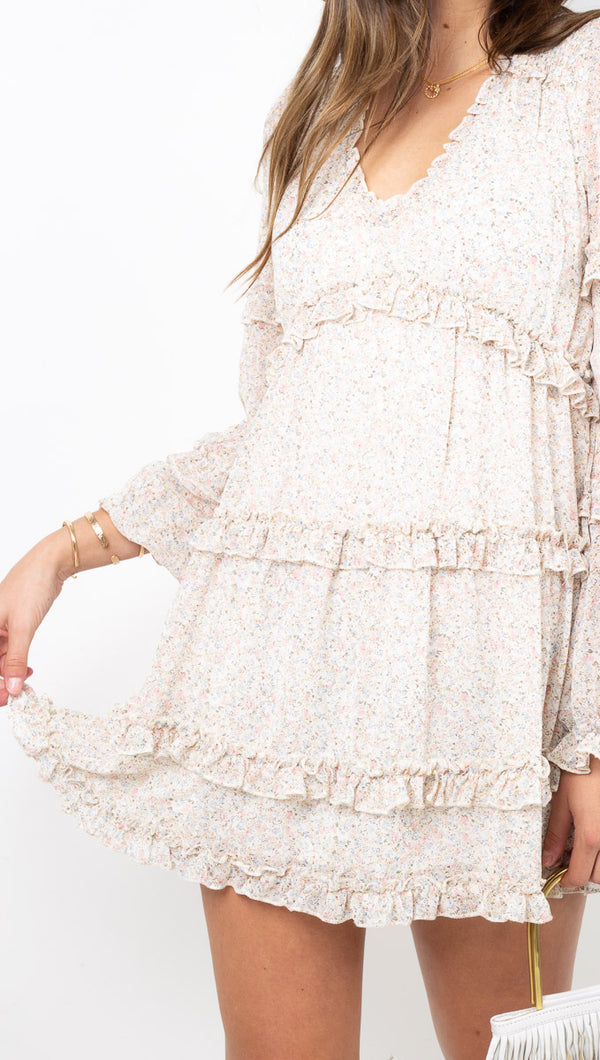 étoile Nude Floral Long Sleeve Babydoll Ruffle Dress