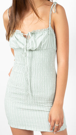 étoile Green Pinstripe Smocked Mini Dress