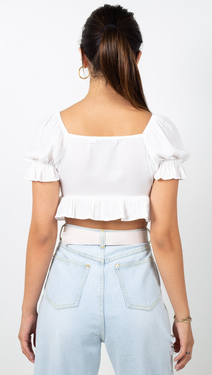 Mia Tie Crop Top - White