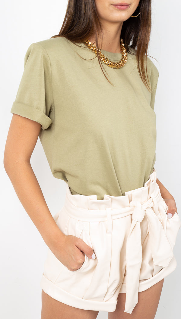 étoile Sage Green Shoulder Pad Tee