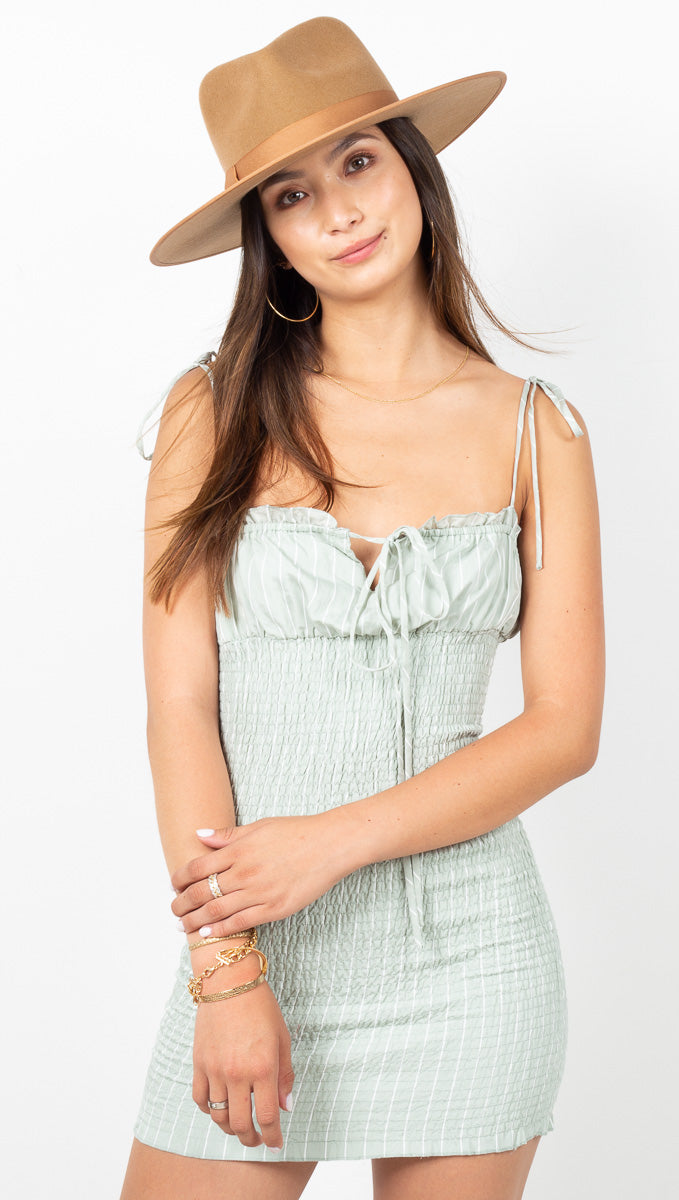 Madelyn Mini Dress - Sage Stripe