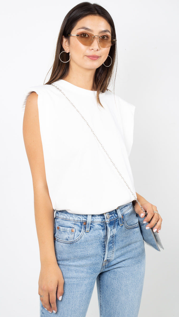 Andrea Padded Shoulder Shirt - Off White