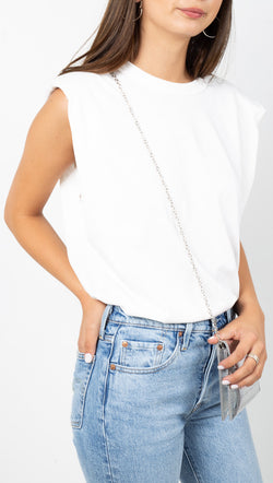 étoile White Shoulder Pad Muscle Tee