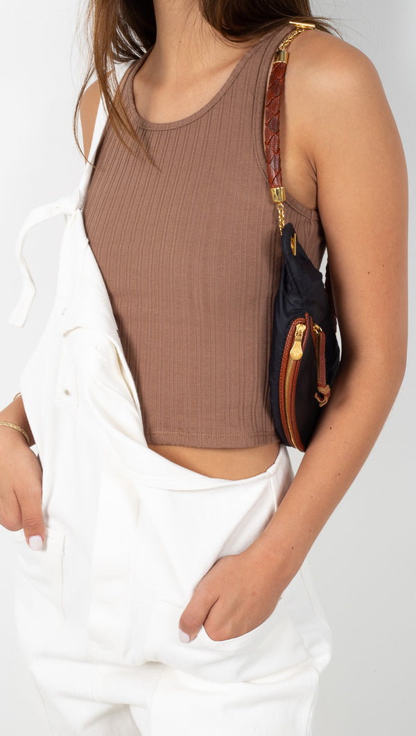étoile Brown Ribbed Crop Tank