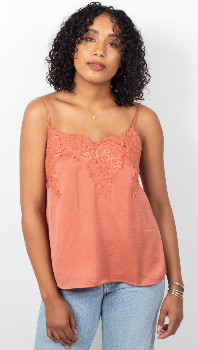 Michelle Lace Tank - Terracotta