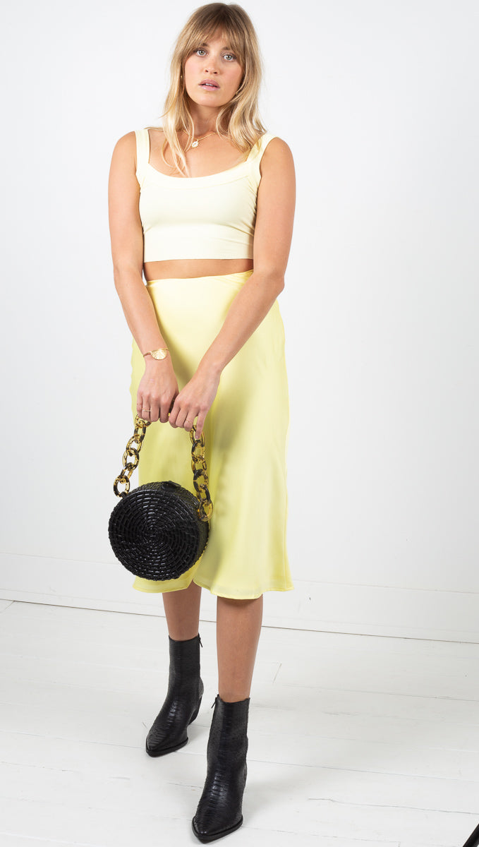 Sunrise Midi Skirt - Lemon