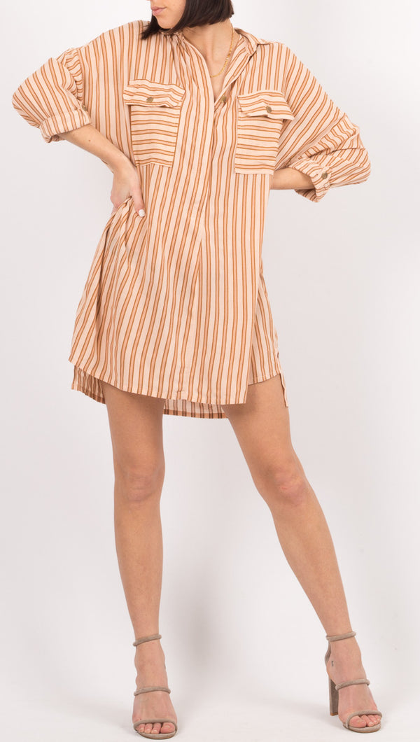 Faithfull The Brand Pink Stripe Shirt Dress