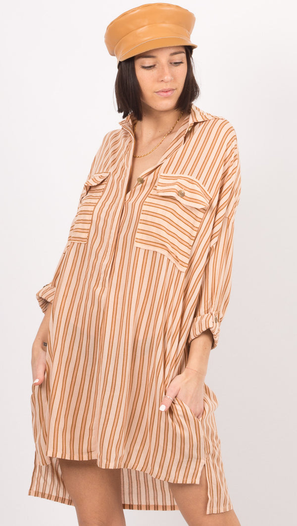 Baia Shirt Dress - Almeria Stripe Pink