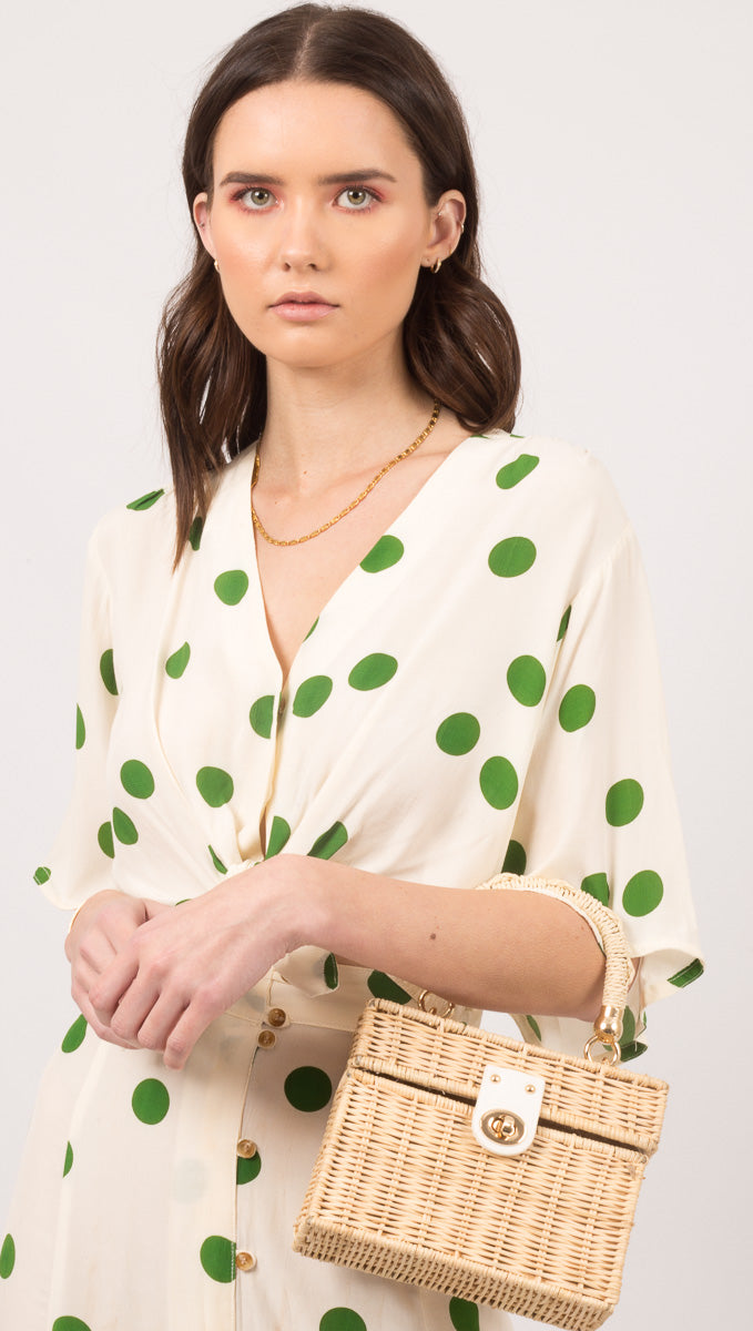 Boulevards Top - Lolita Dot Print Green