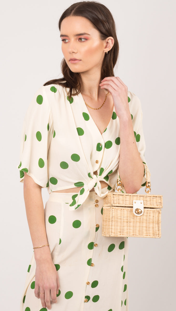Faithful The Brand Green Polka Dot Button Down Top
