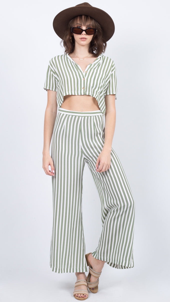 Faithfull The Brand Green Striped High Waisted Pant