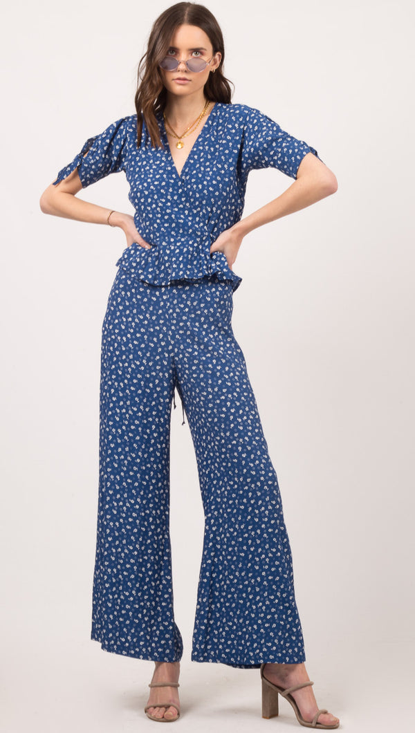 Faithful The Brand Blue and White Floral Print Pants